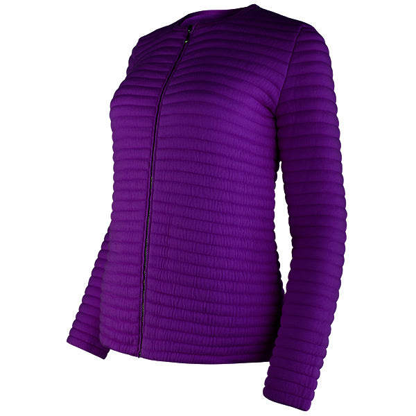 Knitted Zip Bomber Jacket in Grape