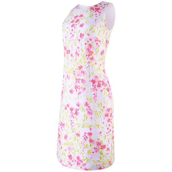 Jacquard  Sleeveless Shift Dress in Dazzling Dahlias