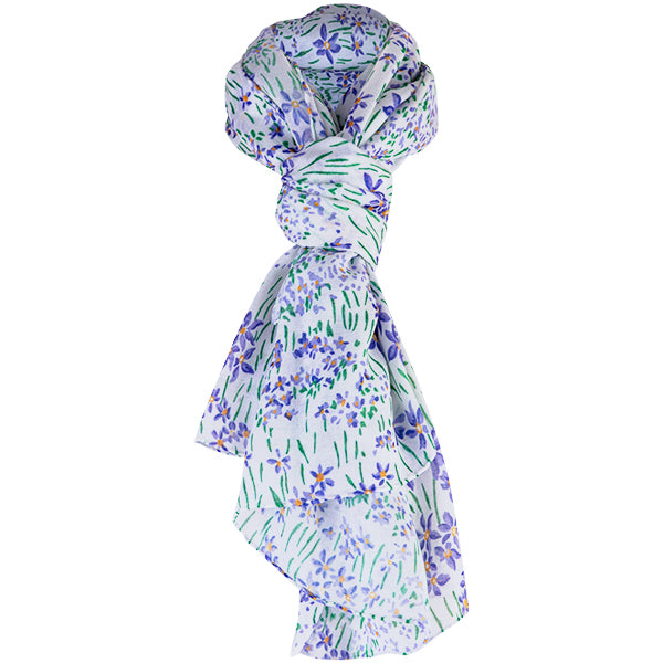 Printed Modal Cashmere Scarf in Wild Iris Meadow