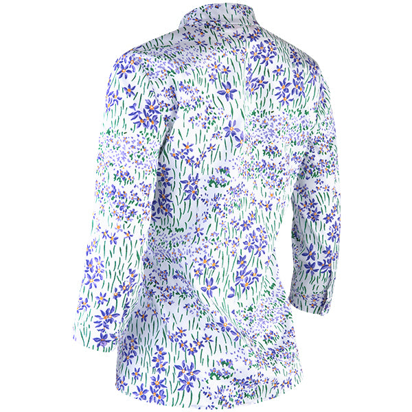 Button-front Inverted Notch Collar Blouse in Wild Iris Meadow