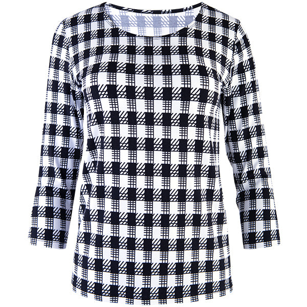 Relaxed Fit Tee in Black/White Gingham Check