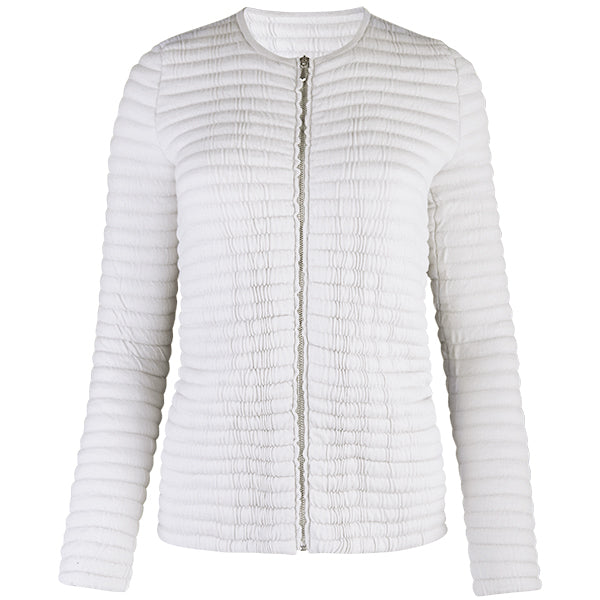 Knitted Zip Bomber Jacket in Alabaster