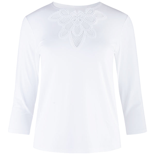 Macrame Lace Insert Tee, 3/4 Sleeve in White