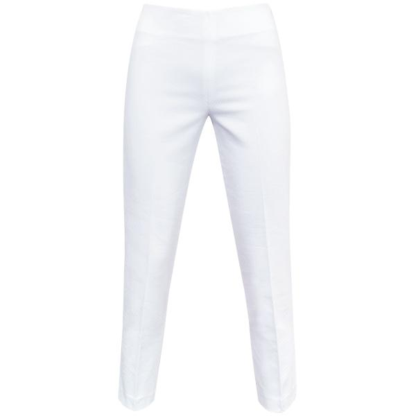 Pique Slim Fit Capri in White.