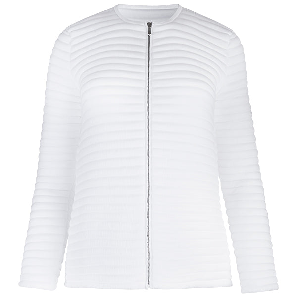 Knitted Zip Bomber Jacket in White
