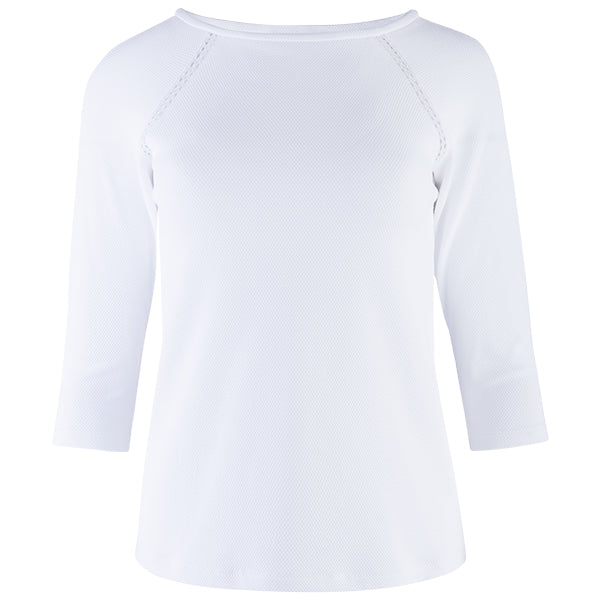Lace Trim Tee, Raglan 3/4 Sleeve in White