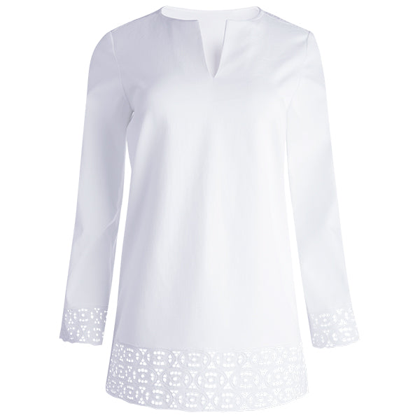 Pique Cut-out Embroidered Tunic in White