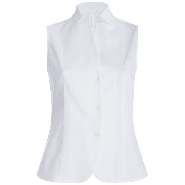 Sleeveless Pique Vest Top in White