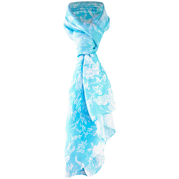 Printed Modal Cashmere Scarf in Turquoise Provencal