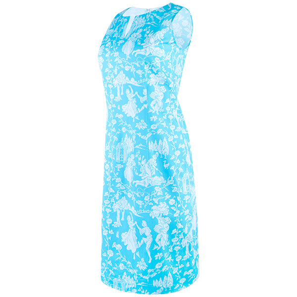 Split Neck Sleeveless Shift Dress in Turquoise Provencal