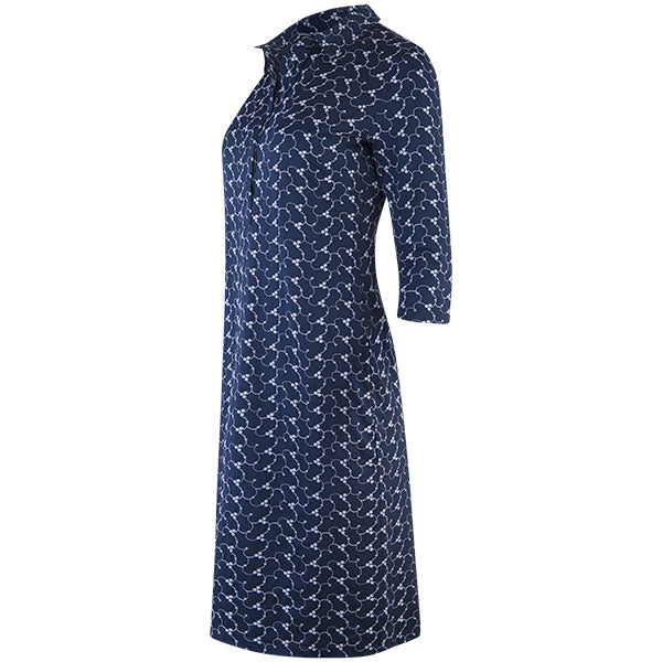 Embroidered Jersey Shirtdress, 3/4 Sleeve in Navy