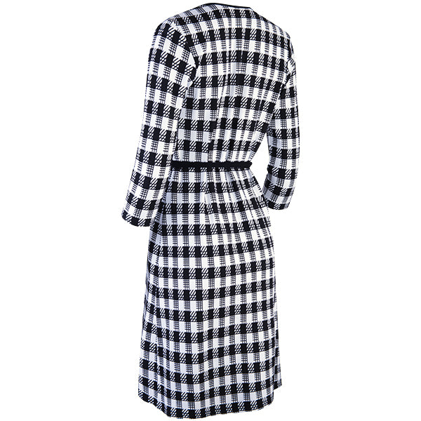 Wrap Knit Dress, 3/4 Sleeve in Black/White Gingham Check