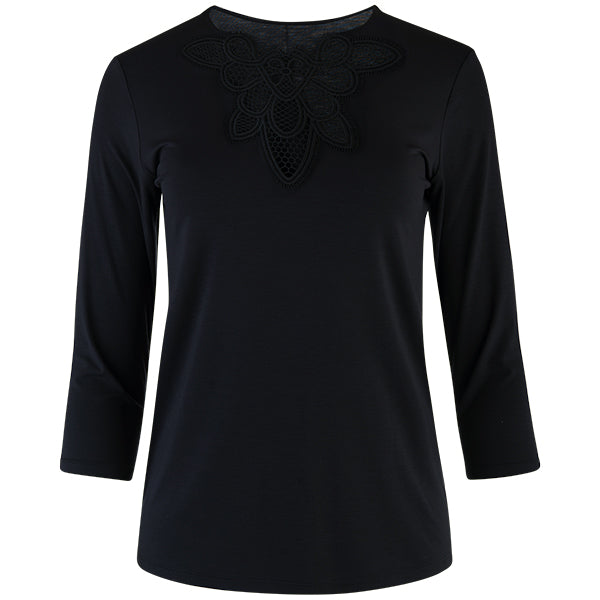 Macrame Lace Insert Tee, 3/4 Sleeve in Black