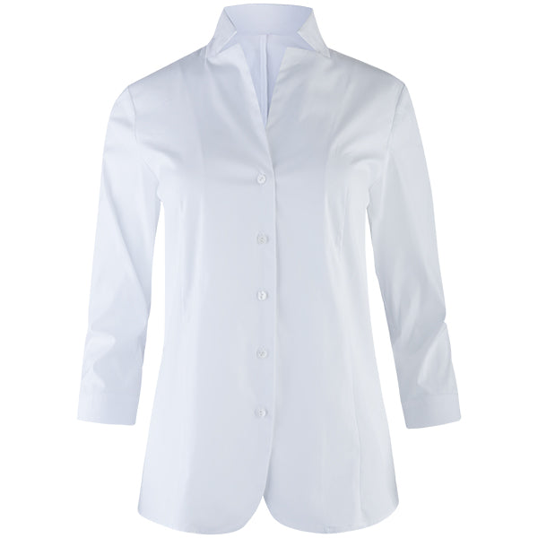 Button-front Inverted Notch Collar Blouse in White