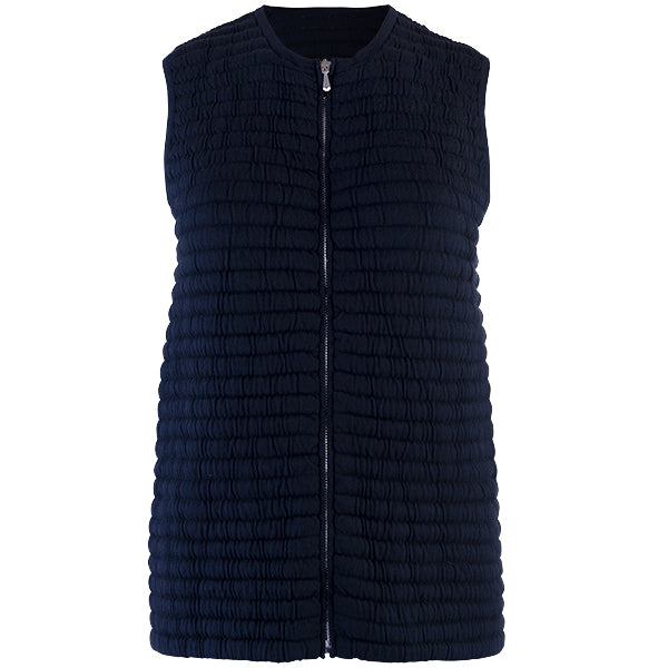 Knitted Zip Sleeveless Vest in Navy