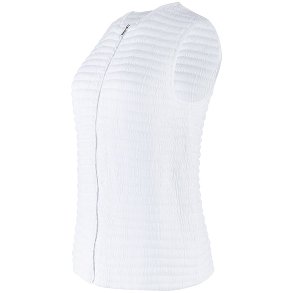 Knitted Zip Sleeveless Vest in White