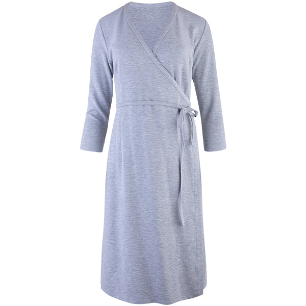 Wrap Knit Dress in Light Grey