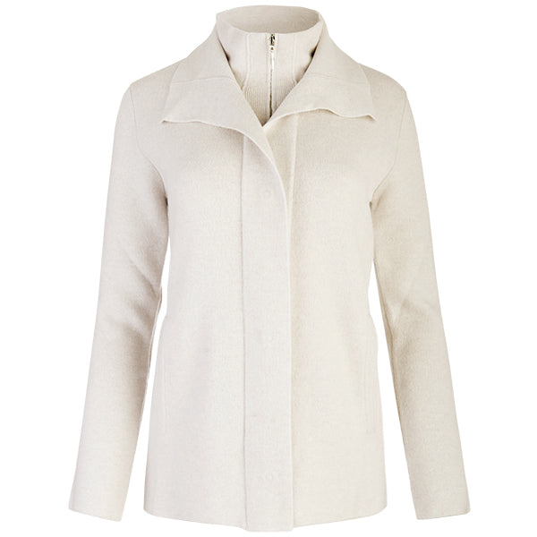 Double Collar Zip Front Cardigan in White