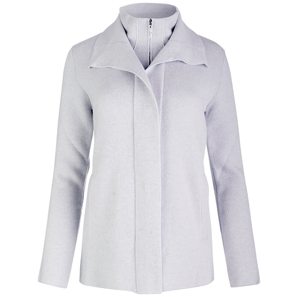 Double Collar Zip Front Cardigan in Light Grey