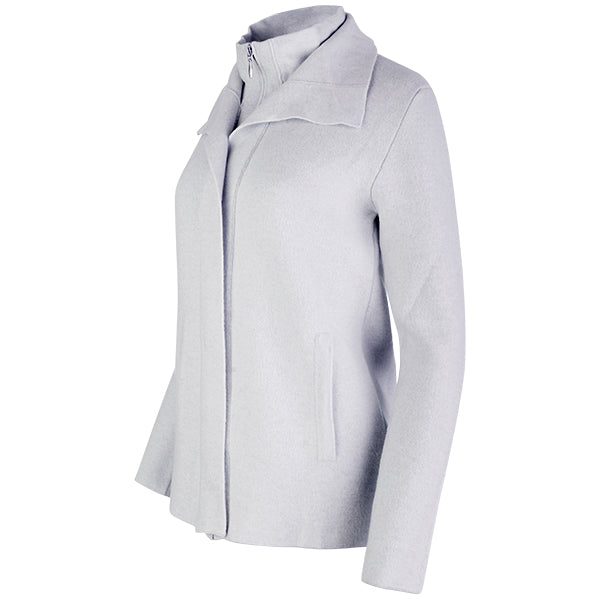 Double Collar Zip-Front Cardigan in Light Grey