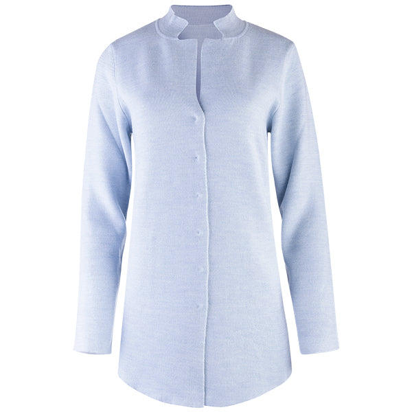 Double-Faced Inverted Notch Collar Cardigan in Light Blue