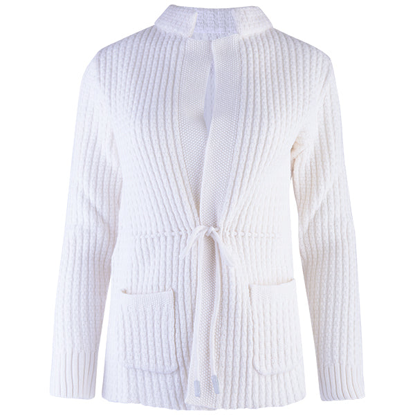 Drawstring Waist Cardigan in White