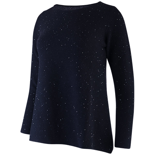 Sequin Round Neck Pullover in Black