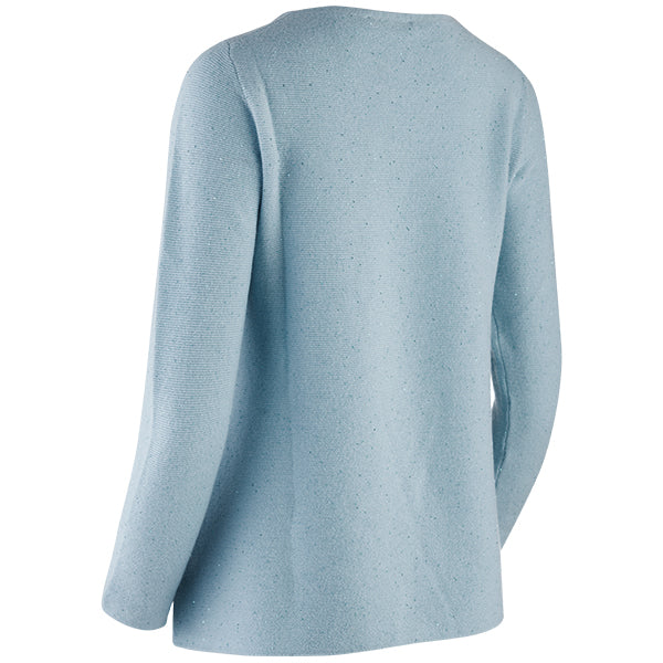 Sequin Round Neck Pullover in Turquoise