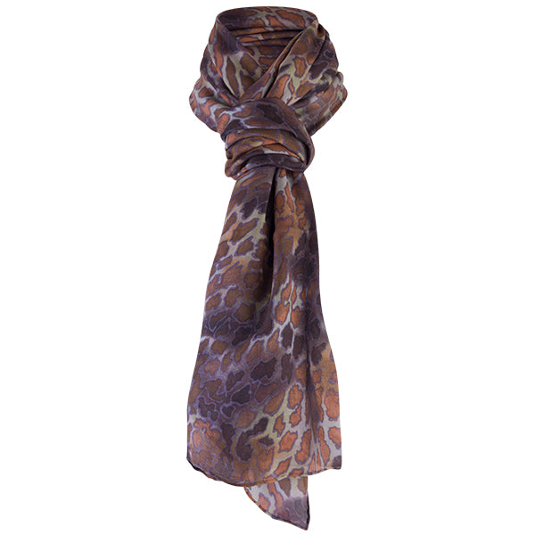 Printed Modal Cashmere Scarf in Sahara Leopard