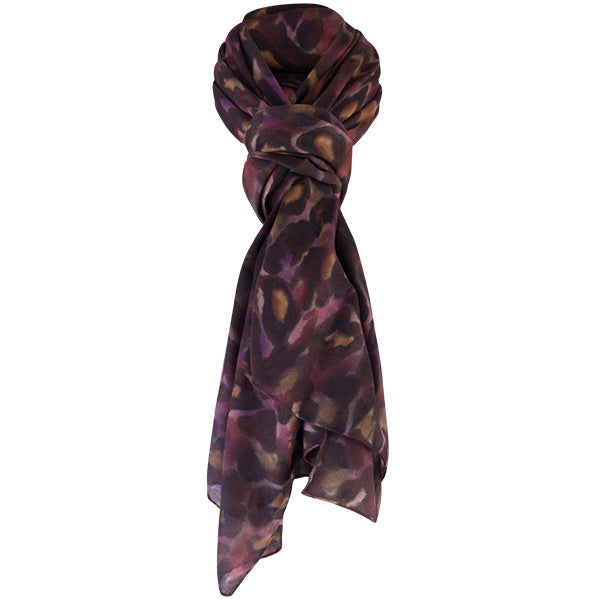 Printed Modal Cashmere Scarf in Plum Cheetah