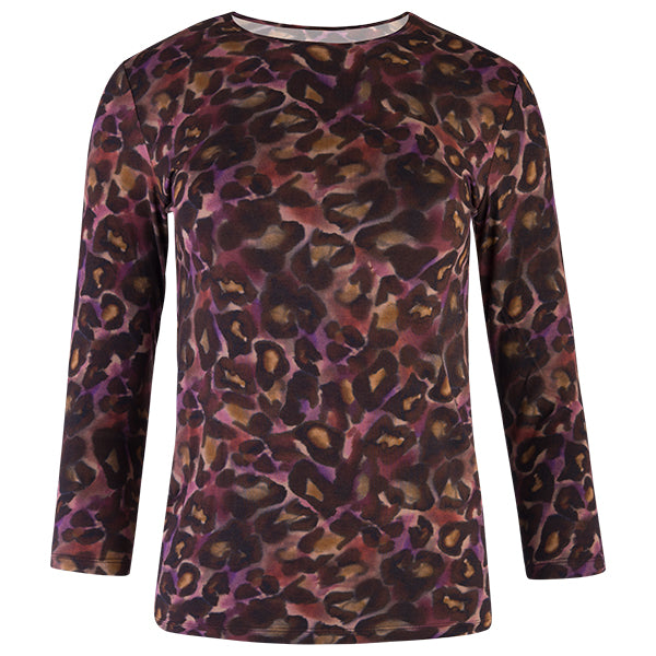 Shaped Knit Tee in Plum Cheetah