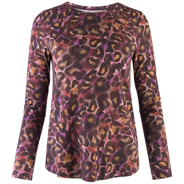 Yoke Relaxed Fit Tee in Plum Cheetah