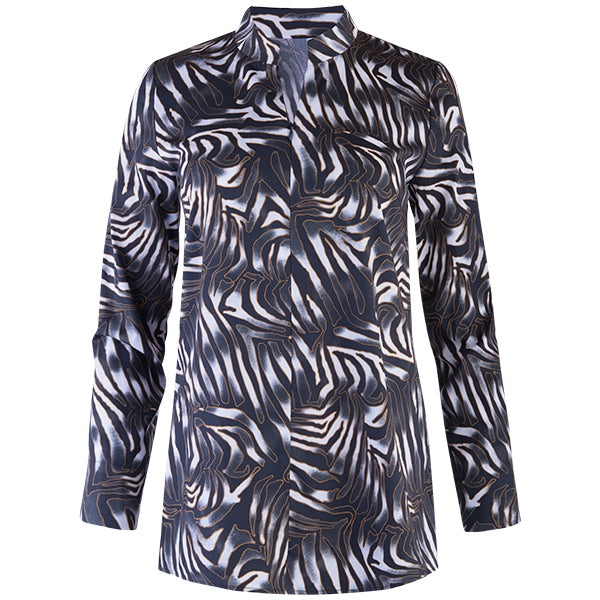 Zip-Front High Collar Tunic in Nairobi Zebra