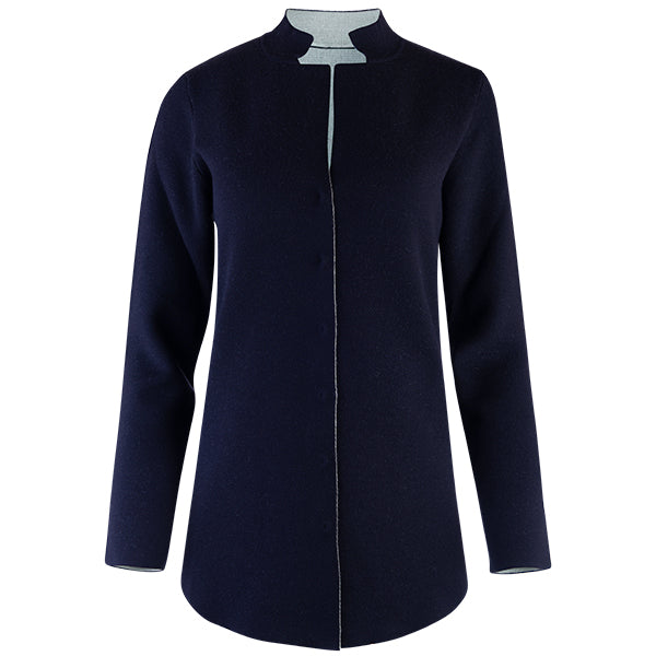 Double-Faced Inverted Notch Collar Cardigan in Navy