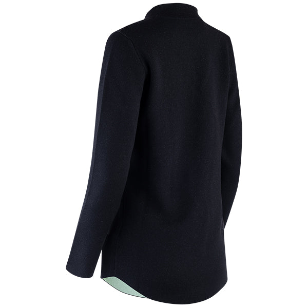 Double-Faced Inverted Notch Collar Cardigan in Black