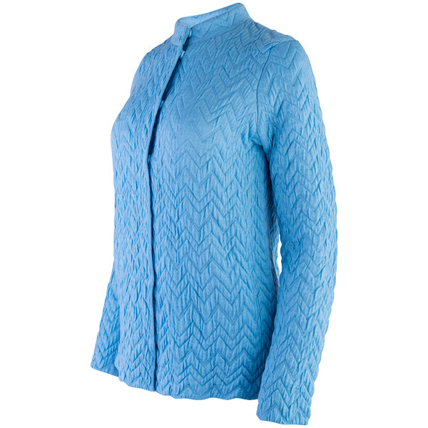 Herringbone Zip Cardigan in Glacier Blue