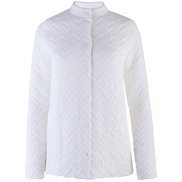 Herringbone Zip Cardigan in Alabaster White