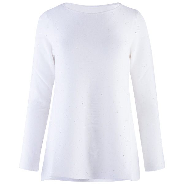 Sequin Round Neck Pullover in Ivory