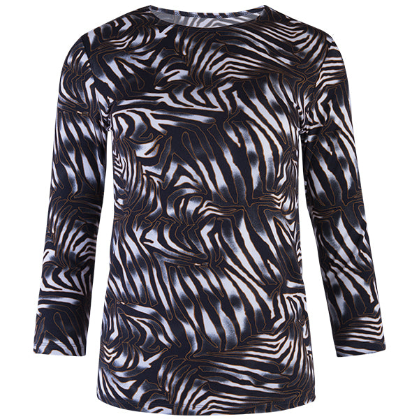 Shaped Knit Tee in Nairobi Zebra