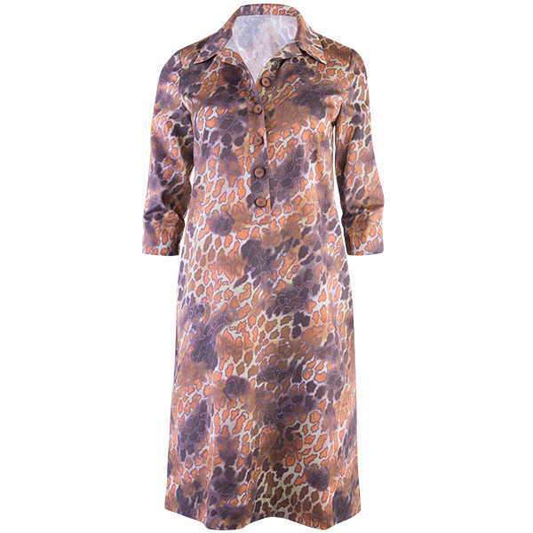 3/4 Sleeve Tunic Shift Dress in Sahara Leopard