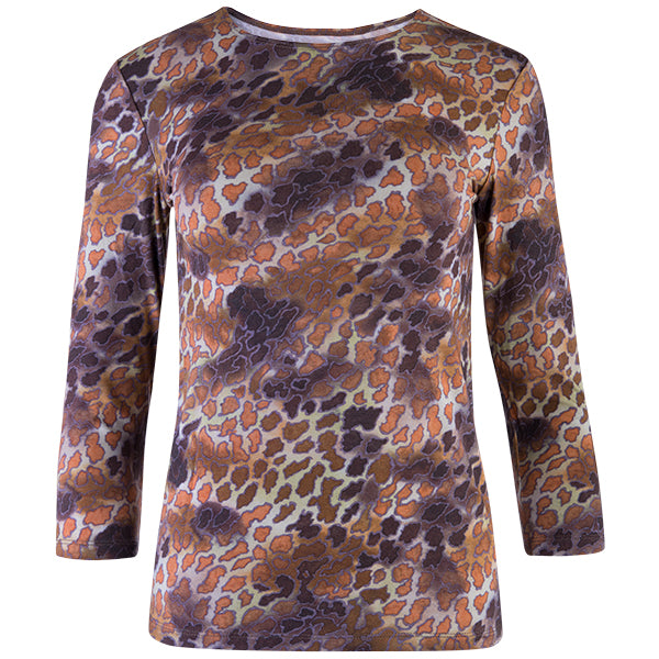 Shaped Knit Tee in Sahara Leopard