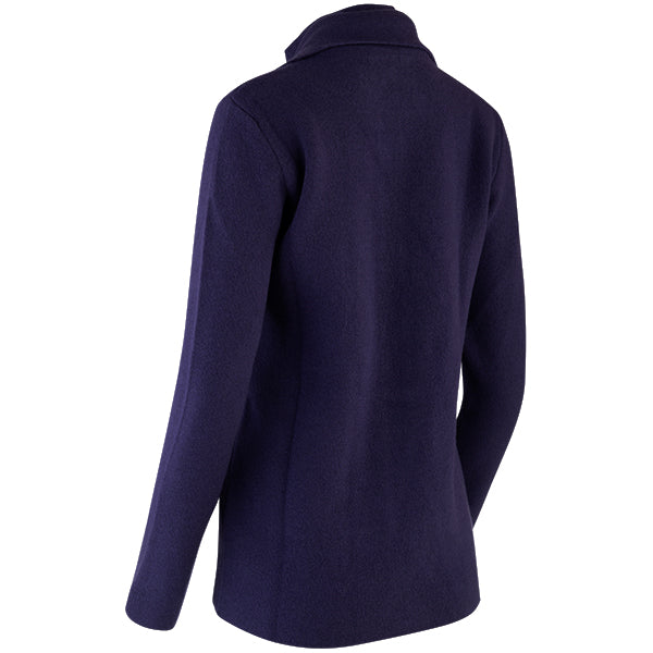 Double Collar Zip Front Cardigan in Grape