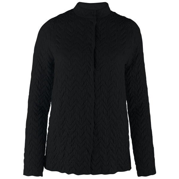 Herringbone Zip Cardigan in Black