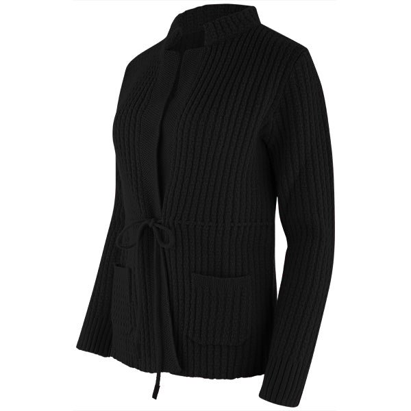 Drawstring Waist Cardigan in Black