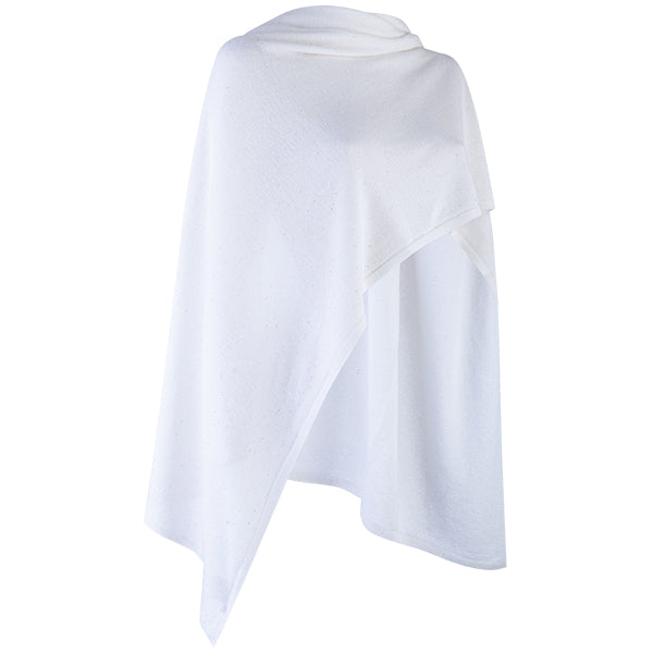 Cashmere Sequin Shawl in Ivory White
