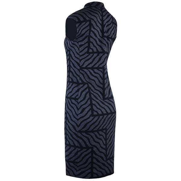 Abstract Zebra Zip Front Sheath Dress in Navy