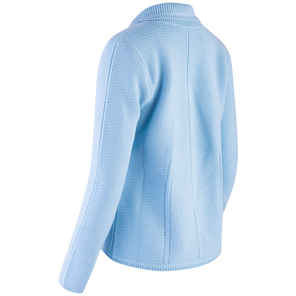 Angular Stitch Blazer Cardigan in Pale Turquoise
