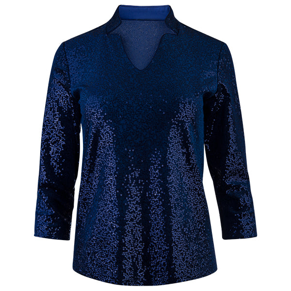Sequin Notch Collar Velvet Tee in Navy