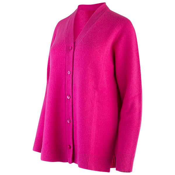 Easy Fit V-Neck Cardigan in Hot Pink