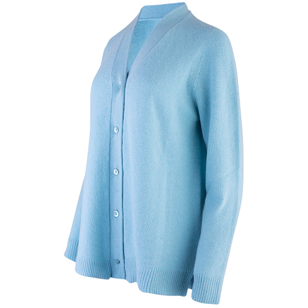 Easy Fit V-Neck Cardigan in Aqua Turquoise